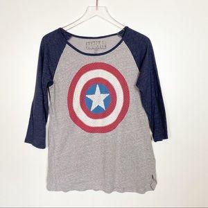 Captain America Shield Raglan Tee